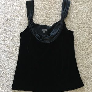 Ann Taylor black velvet & silk top